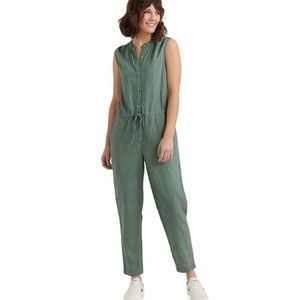 Lucky Brand Sleeveless Button Front Tie Jumpsuit